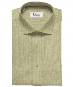 Linen Club Men's Linen 80 LEA Self Striped Unstitched Shirting Fabric (Beige)