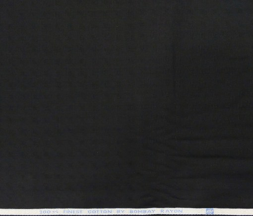 Bombay Rayon Men's Cotton Dobby 1.60 Meter Unstitched Shirting Fabric (Black)