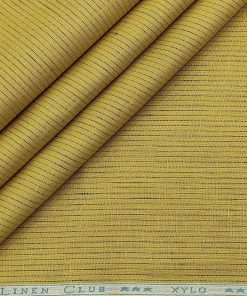 Linen Club Men's Linen 80 LEA Self Striped Unstitched Shirting Fabric (Mustard Yellow)