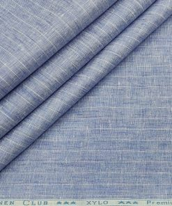 Linen Club Men's Linen 80 LEA Striped Unstitched Shirting Fabric (Sky Blue)