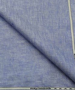 Raymond Men's Linen Self Design 3 Meter Unstitched Suiting Fabric (Light Blue)