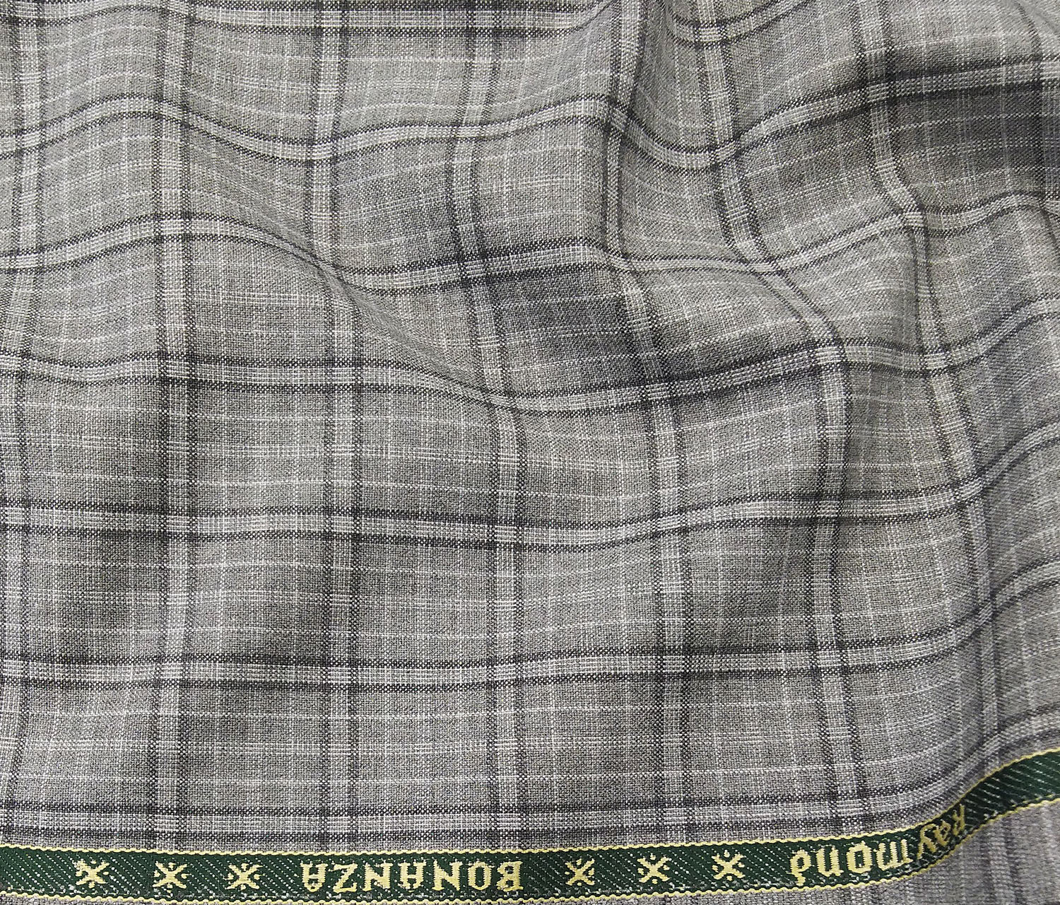 Raymond Men's Poly Viscose Unstitched Checks Suiting Fabric (Light Grey)