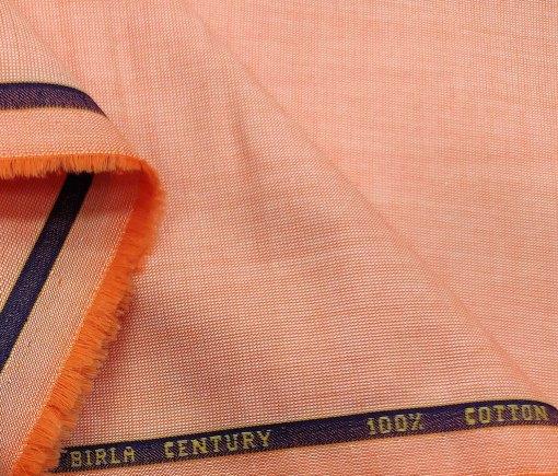 Birla Century Men's Cotton Structured 1.60 Meter Unstitched Shirt Fabric (Cantaloupe Orange)