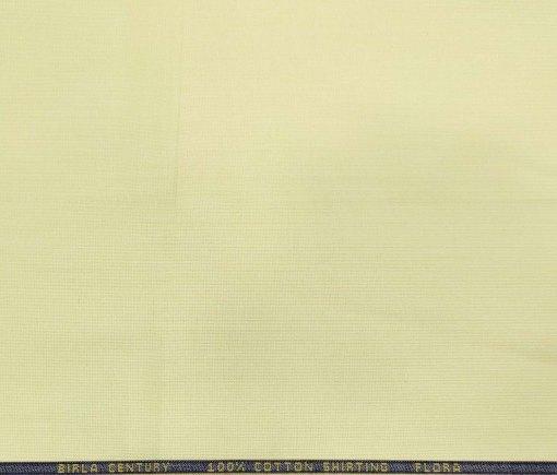 Birla Century Men's Cotton Structured 1.60 Meter Unstitched Shirt Fabric (Light Yellow)