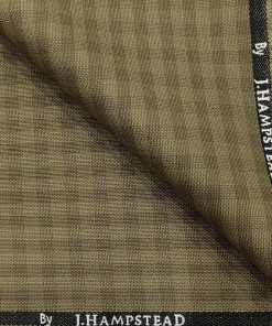 J.Hampstead Men's Polyester Viscose Checks Unstitched Suiting Fabric (Khakhi)