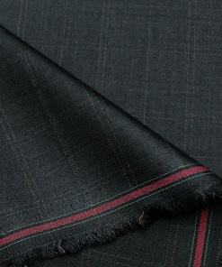 J.Hampstead Men's Terry Rayon Checks Unstitched Suiting Fabric (Dark Blue)