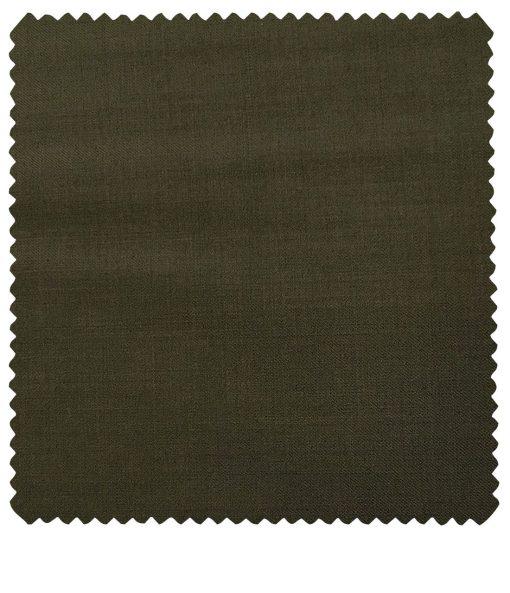 J.Hampstead Men's Wool Solids  Super 100's Unstitched Trouser Fabric (Mehandi Green