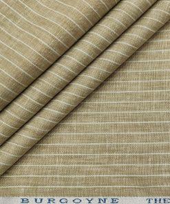 Burgoyne Men's 60 LEA Irish Linen Striped  Unstitched Shirting Fabric (Beige)
