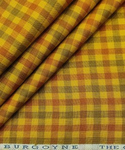 Burgoyne Men's 60 LEA Irish Linen Checks  Unstitched Shirting Fabric (Yellow)