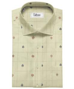 Rendell Grant Men's Cotton Printed Unstitched Shirting Fabric (Beige)