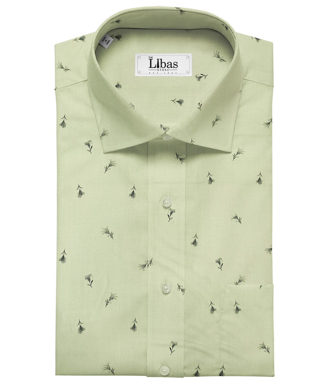Rendell Grant Men's Cotton Printed Unstitched Shirting Fabric (Olive Green)