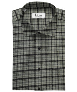 OCM Men's Wool Checks Unstitched Shirting Fabric (Grey)