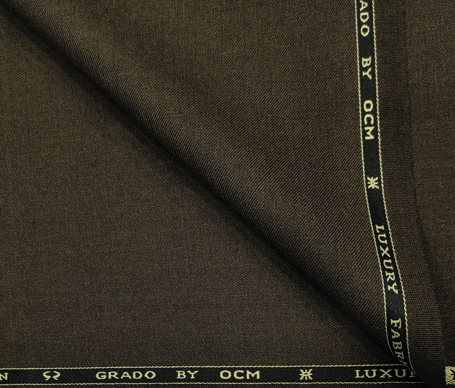 OCM Men's Wool Solids Unstitched Suiting Fabric (Dark Brown)
