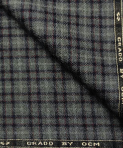 OCM Men's Wool Checks Medium & Soft 2 Meter Unstitched Tweed Jacketing & Blazer Fabric (Dark Grey)