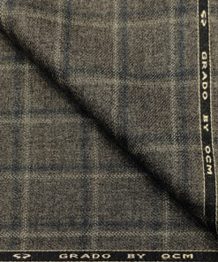 OCM Men's Wool Checks Medium & Soft 2 Meter Unstitched Tweed Jacketing & Blazer Fabric (Dark Brown)