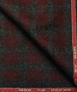 OCM Men's Wool Checks Thick & Soft 2 Meter Unstitched Tweed Jacketing & Blazer Fabric (Dark Maroon & Grey)