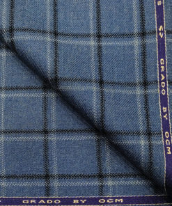OCM Men's Wool Checks Medium & Soft 2 Meter Unstitched Tweed Jacketing & Blazer Fabric (Blue & Black)