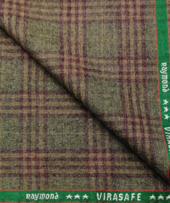 Raymond Men's Wool Checks Virasafe Anti Viral Fabric 2.20 Meter Unstitched Tweed Jacketing & Blazer Fabric (Brown
