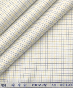 Arvind Men's Supima Cotton Checks 2 Meter Unstitched Shirting Fabric (Milky White)