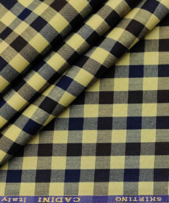 Cadini Men's Cotton Checks 1.60 Meter Unstitched Shirting Fabric (Daffodil Yellow)