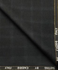Cadini Men's Wool Checks Super 90's 1.25 Meter Unstitched Suiting Fabric (Black)