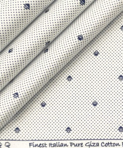Exquisite Men's Cotton Printed 2.25 Meter Unstitched Shirting Fabric (White & Blue)