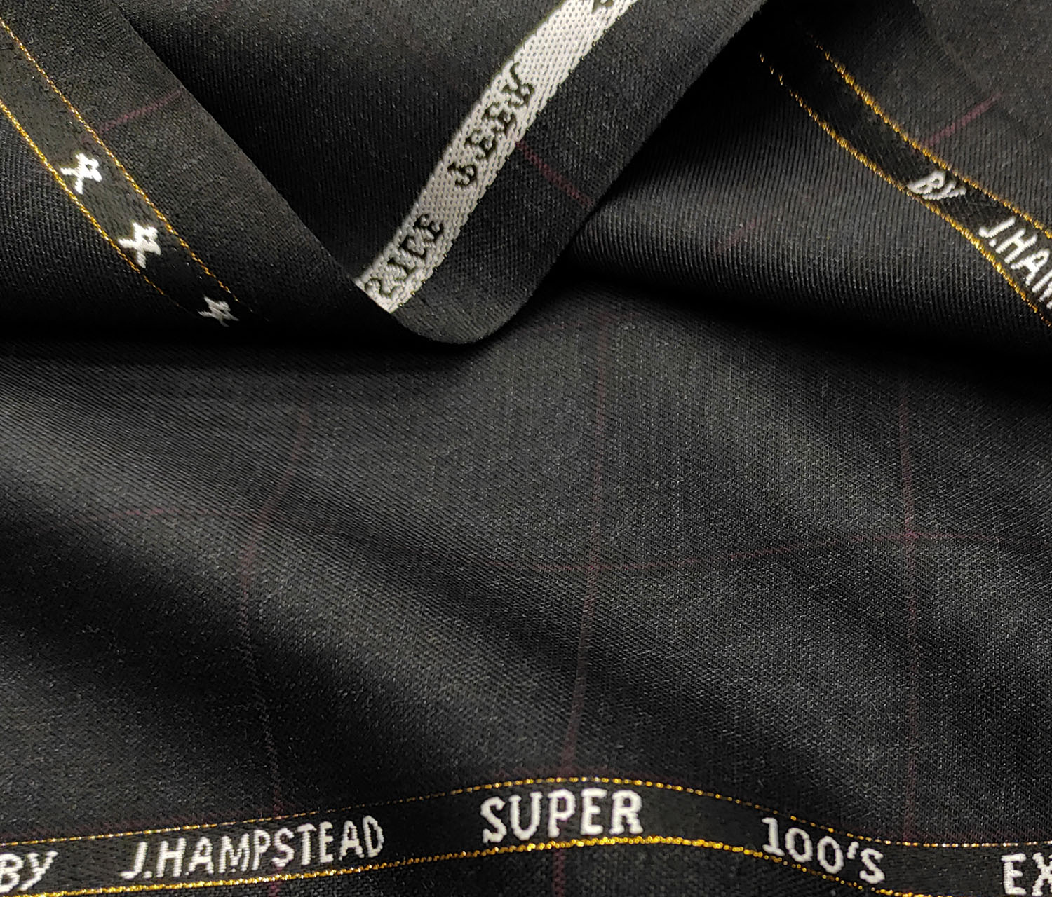 J.Hampstead Men's Wool Checks Super 100's 3.75 Meter Unstitched Suiting Fabric (Dark Grey)