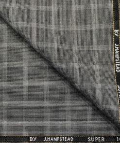 J.Hampstead Men's Wool Checks Super 100's 3 Meter Unstitched Suiting Fabric (Light Grey)