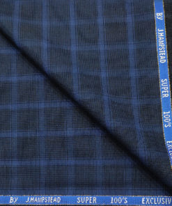J.Hampstead Men's Wool Checks Super 100's 3.75 Meter Unstitched Suiting Fabric (Royal Blue)