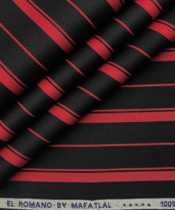 Mafatlal Men's Giza Cotton Striped 2 Meter Unstitched Shirting Fabric (Black & Red)