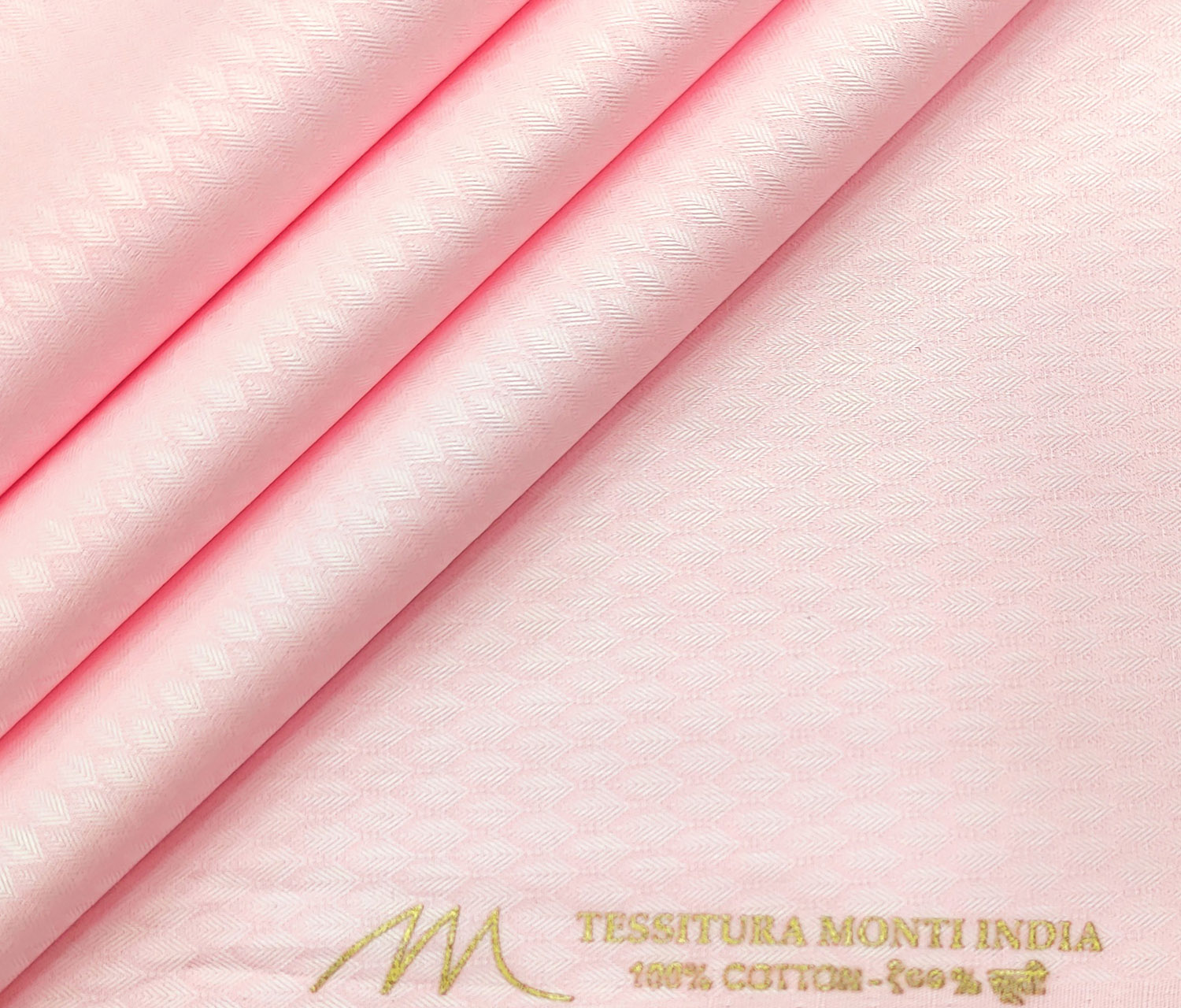 Tessitura Monti Men's Giza Cotton Structured 2 Meter Unstitched Shirting Fabric (Pink)