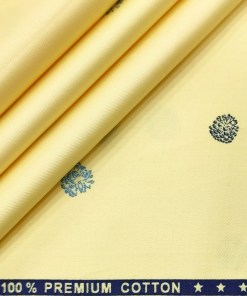 Nemesis Men's Cotton Printed 2.25 Meter Unstitched Shirting Fabric (Daffodil Yellow)