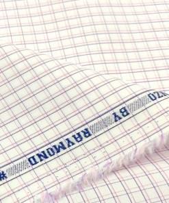 Raymond Men's Cotton Checks 2 Meter Unstitched Shirting Fabric (White)