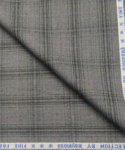 Raymond Men's Wool Checks 3.75 Meter Unstitched Suiting Fabric (Worsted Grey)
