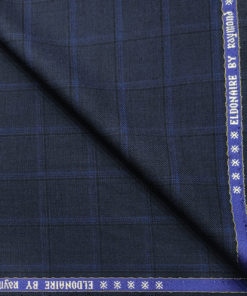 Raymond Men's Wool Checks Super 70's 1.30 Meter Unstitched Suiting Fabric (Dark Royal Blue)