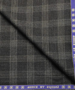 Raymond Men's Wool Checks Super 90's 1.25 Meter Unstitched Suiting Fabric (Dark Grey)