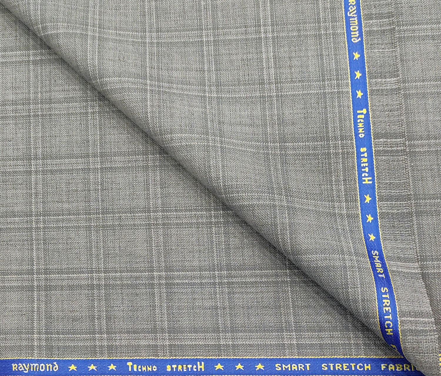 Raymond Men's Wool Checks 2 Meter Unstitched Suiting Fabric (Light Grey)