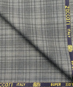 Zaccari Men's Wool Checks Super 110's 2 Meter Unstitched Suiting Fabric (Light Grey)
