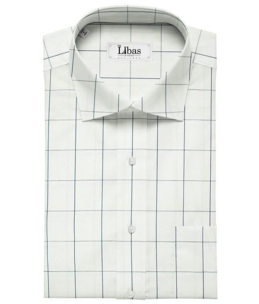 Birla Century Men's Pima Cotton Checks Unstitched Shirting Fabric (White)