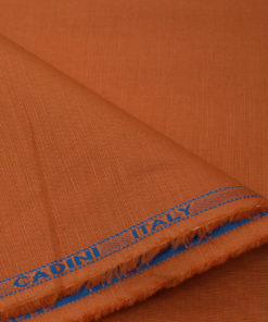 Cadini Men's Cotton Linen Solids 2.25 Meter Unstitched Shirting Fabric (Orange)