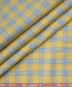 F.M. HAMMERLE Men's Giza Cotton Checks Unstitched Shirting Fabric (Daffodil Yellow)