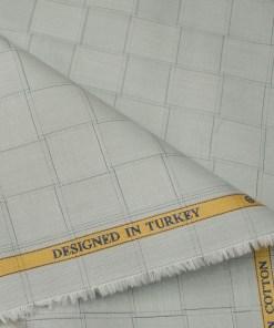 Soktas Men's Giza Cotton Checks Unstitched Shirting Fabric (Light Grey)