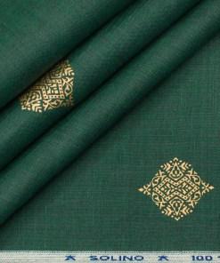 Solino Men's Linen Printed 2.25Meter Unstitched Shirting Fabric (Dark Pine Green )