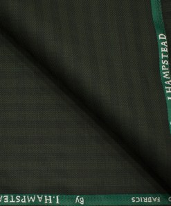 J.Hampstead Men's Polyester Viscose Checks 3.75 Meter Unstitched Suiting Fabric (Dark Seaweed Green)