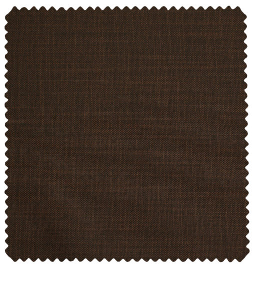 J.Hampstead Men's Polyester Viscose Self Design 3.75 Meter Unstitched Suiting Fabric (Copper Brown)