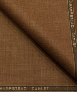 J.Hampstead Men's Terry Rayon (65 + 35) Structured 3.75 Meter Unstitched Suiting Fabric (Rust Brown)