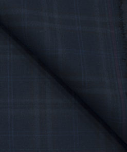 J.Hampstead Men's Terry Rayon (71 + 29) Checks 3.75 Meter Unstitched Suiting Fabric (Dark Blue)