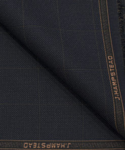 J.Hampstead Men's Terry Rayon (74 + 26) Checks 3.75 Meter Unstitched Suiting Fabric (Dark Blue)