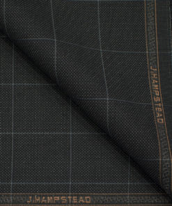 J.Hampstead Men's Terry Rayon (74 + 26) Checks 3.75 Meter Unstitched Suiting Fabric (Black)