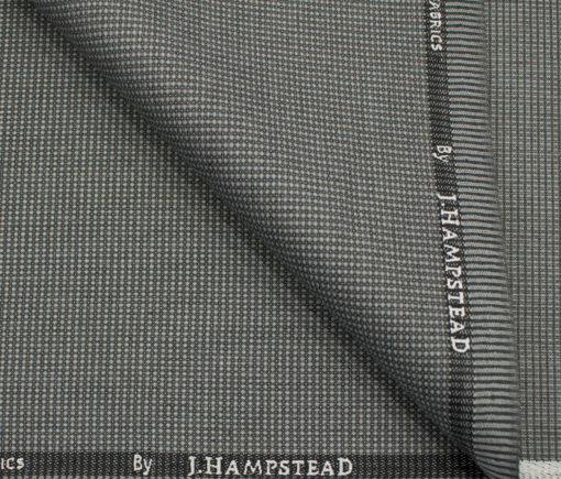 J.Hampstead Men's Polyester Viscose Structured 3.75 Meter Unstitched Suiting Fabric (Light Grey)